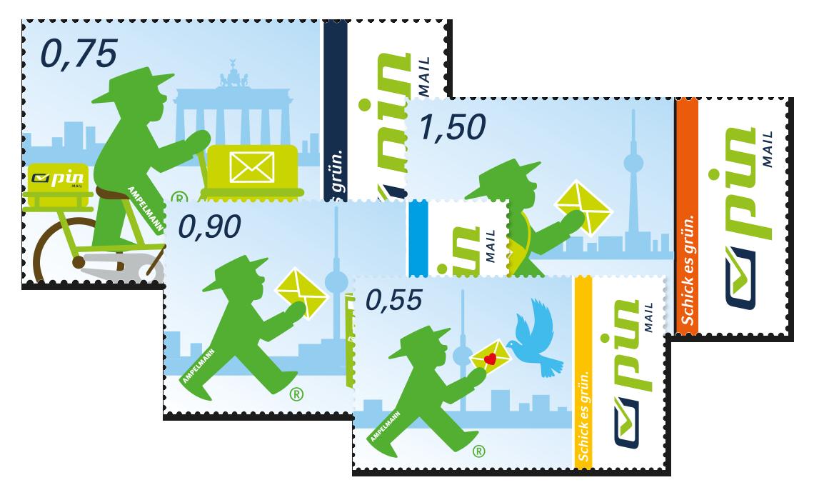 Drei Briefmarken der PIN AG mit unterschiedlichen Werten