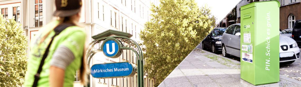 Briefkasten der PIN und PIN Mitarbeiter vor einer U-Bahn Station