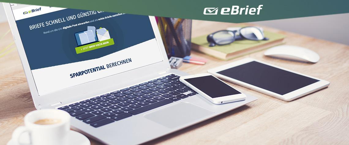 Computer mit der Startseite des eBrief der PIN AG