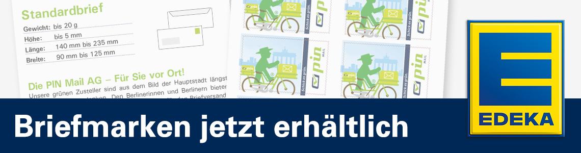 Briefmarkenbogen und EDEKA Logo