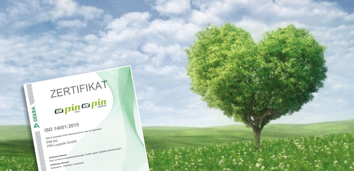 Baum in Herzform mit Umweltzertifikat PIN AG