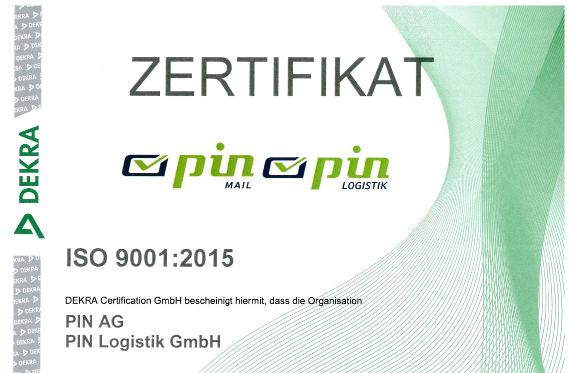 Zertifikat Umweltmanagement PIN AG ISO 9001:2015