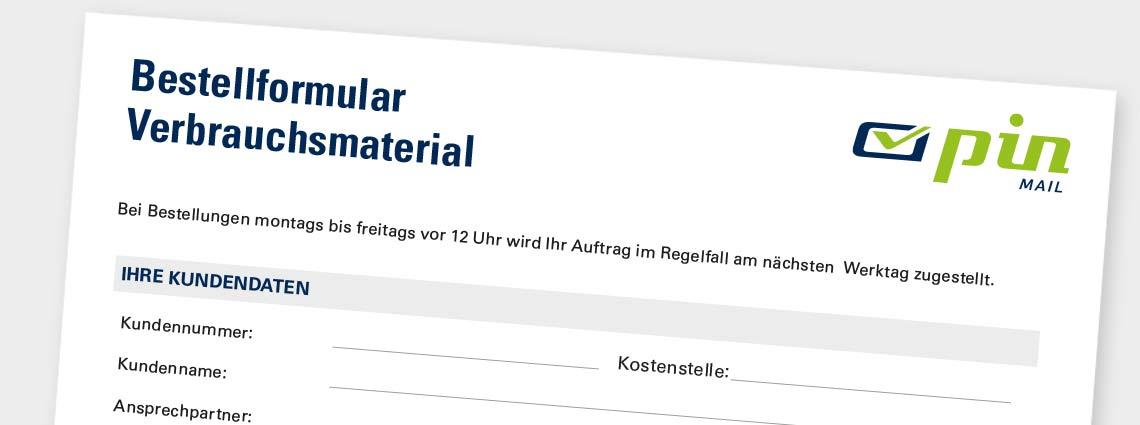 Bild Formular Verbrauchtsmaterial für Prelabel und Einschreiben