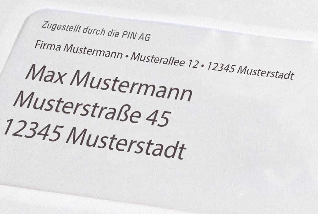 Verkürzte Frankierzeile für Werbepost der PIN AG