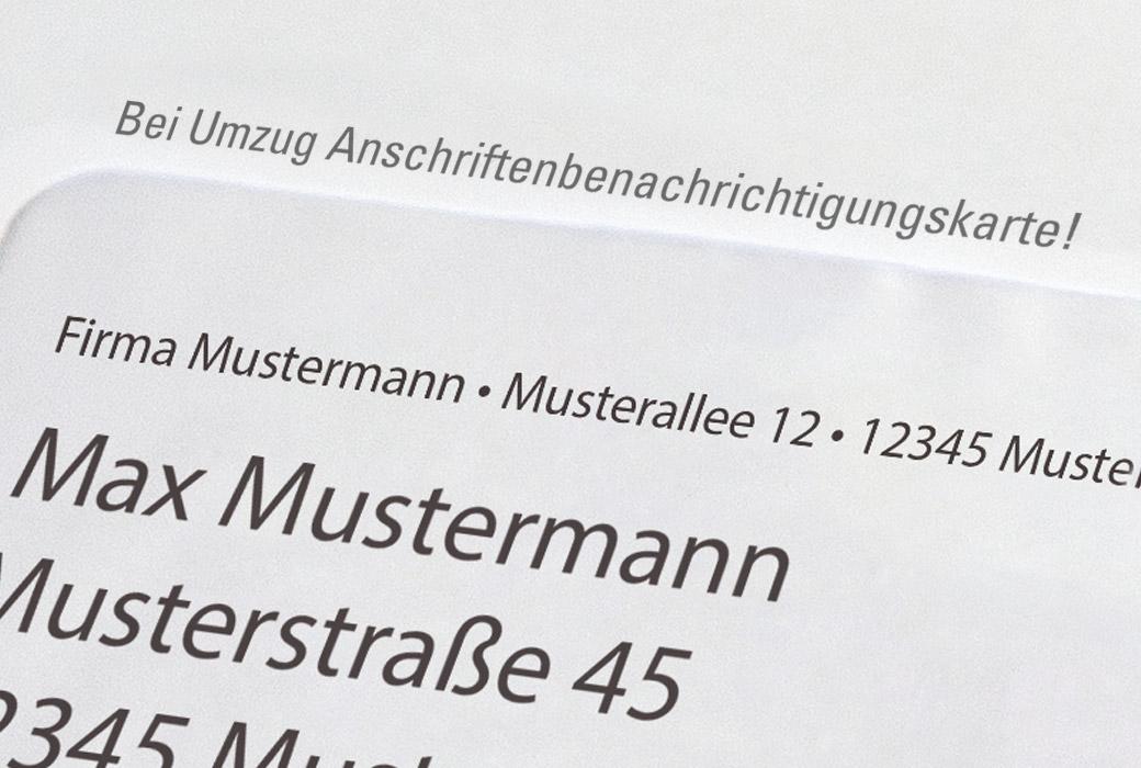 Vorausverfügung auf Brief Bei Umzug Anschriftenbenachrichtigungskarte