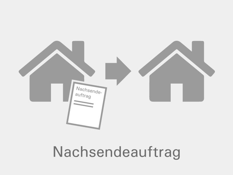 graues Icon - Dokument bewegt sich zwischen zwei Häusern