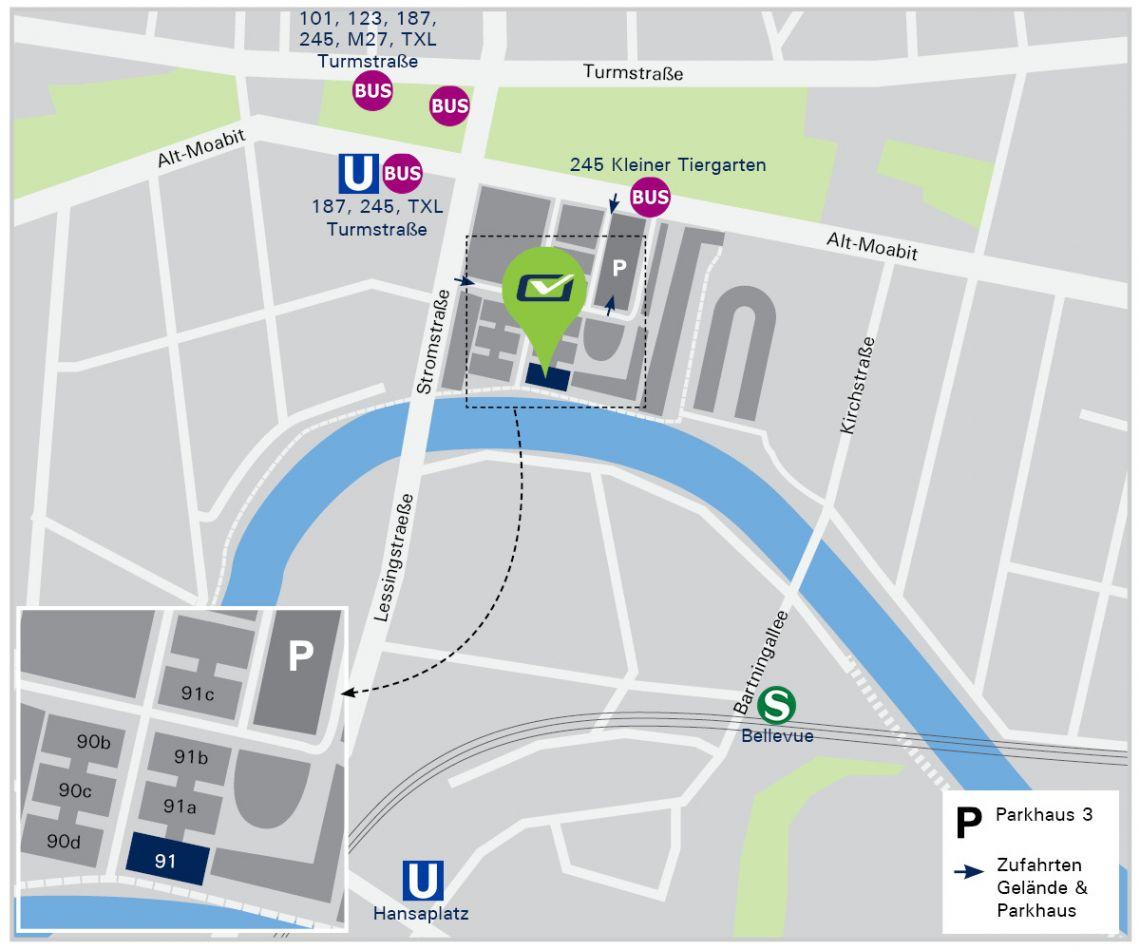 Kartenausschnitt der den Weg zum PIN-Hauptgebäude zeigt