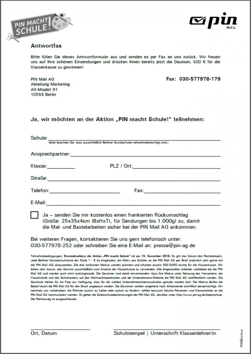 """Abbildung eines Faxformulars für die Anmeldung zu """"PIN macht Schule 2016!"""""""