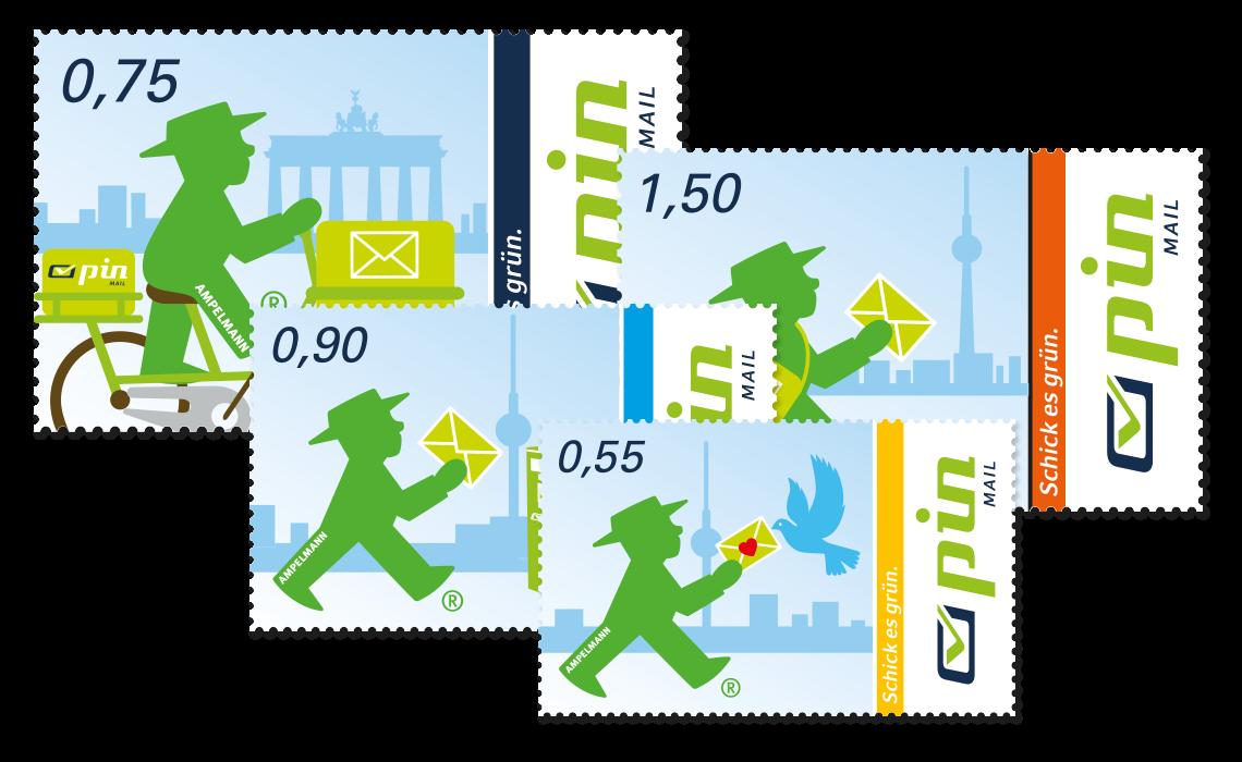 Drei Briefmarken der PIN Mail AG mit unterschiedlichen Werten