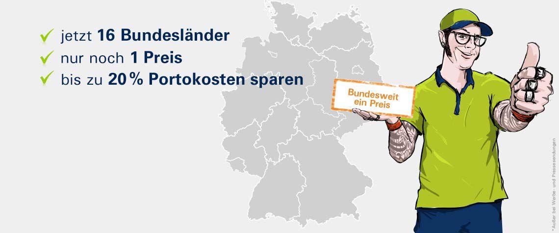 Bundesweit einheitliche Preise - Aufzählung, Deutschlandkarte, PIN-Zusteller