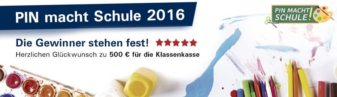 Header mit Text: PIN macht Schule 2016 + Buntestifte + Tuschkasten