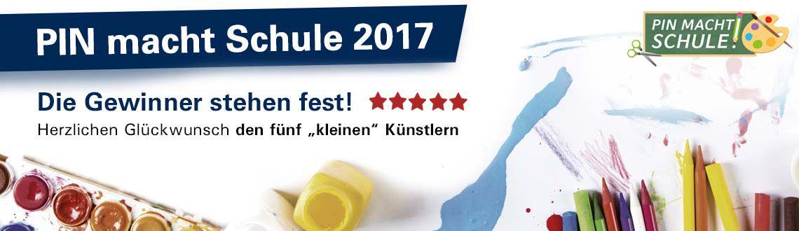 PIN macht Schule 2017 - Die Gewinner stehen fest - Im Hintergrund Tuschkasten und Buntstifte + Logo für PIN macht Schule