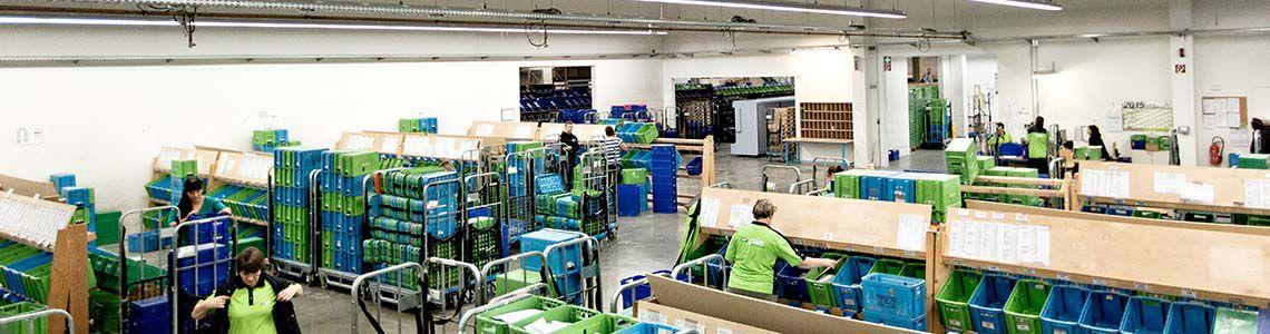 Panoramaufnahme der Sortierproduktion der PIN Mail AG