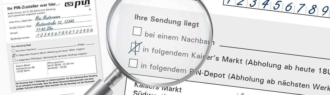 Ansicht der Benachrichtigungskarte der PIN Mail AG