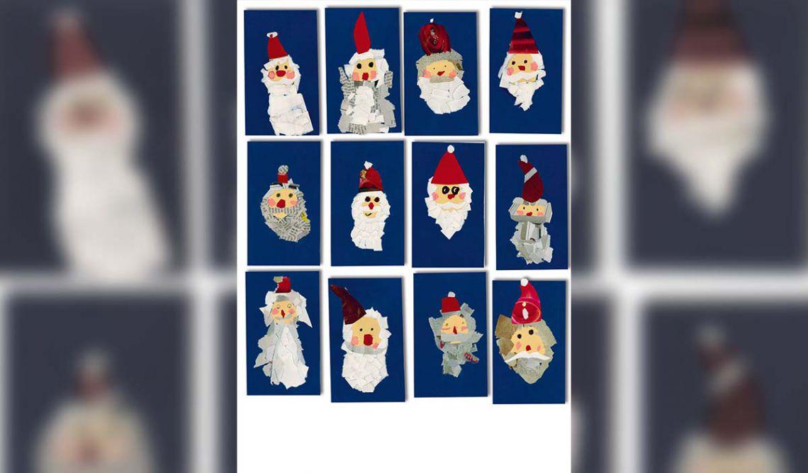 unterschiedliche Portraits vom Weihnachtsmann