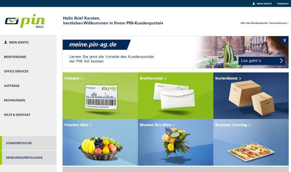 Dashboard Kundenportal PIN AG