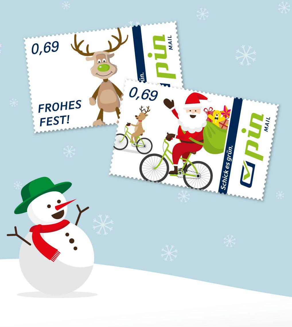 PIN-Weihnachtsbriefmarken zwei Motive im Hintergrund eine Winterlandschaft mit Schneemann
