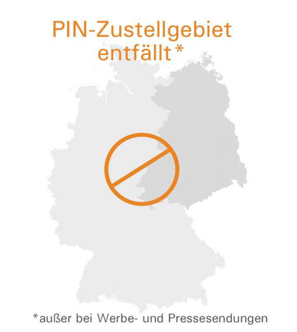 PIN-Zustellgebiet entfällt - geteilte Deutschlandkarte im Hintergrund