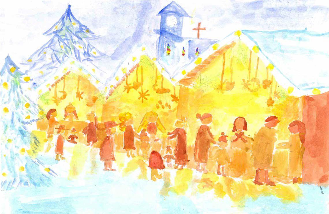Verträumter Weihnachtsmarkt mit drei Buden