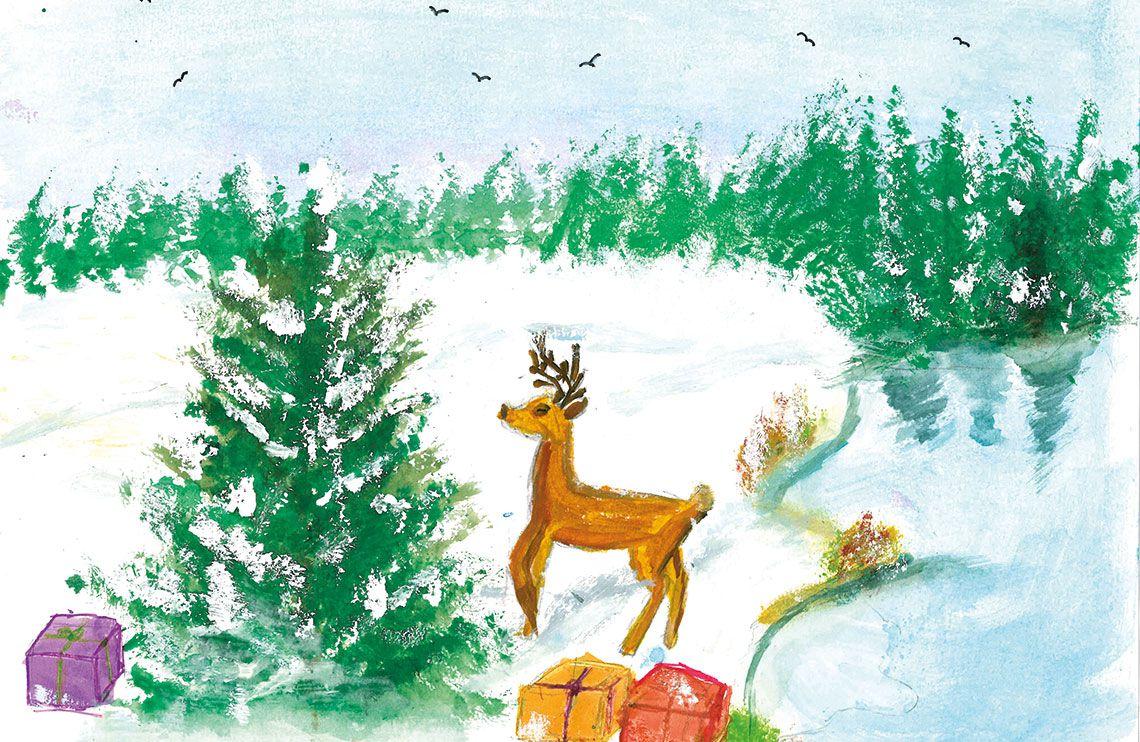 Ein Rentier steht vor einer Tanne in einem verschneiten Wald