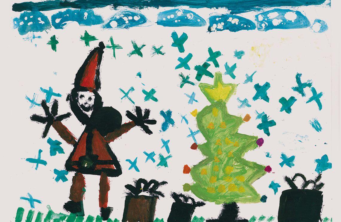Weihnachtsmann legt Geschenke unter den Weihnachtsbaum
