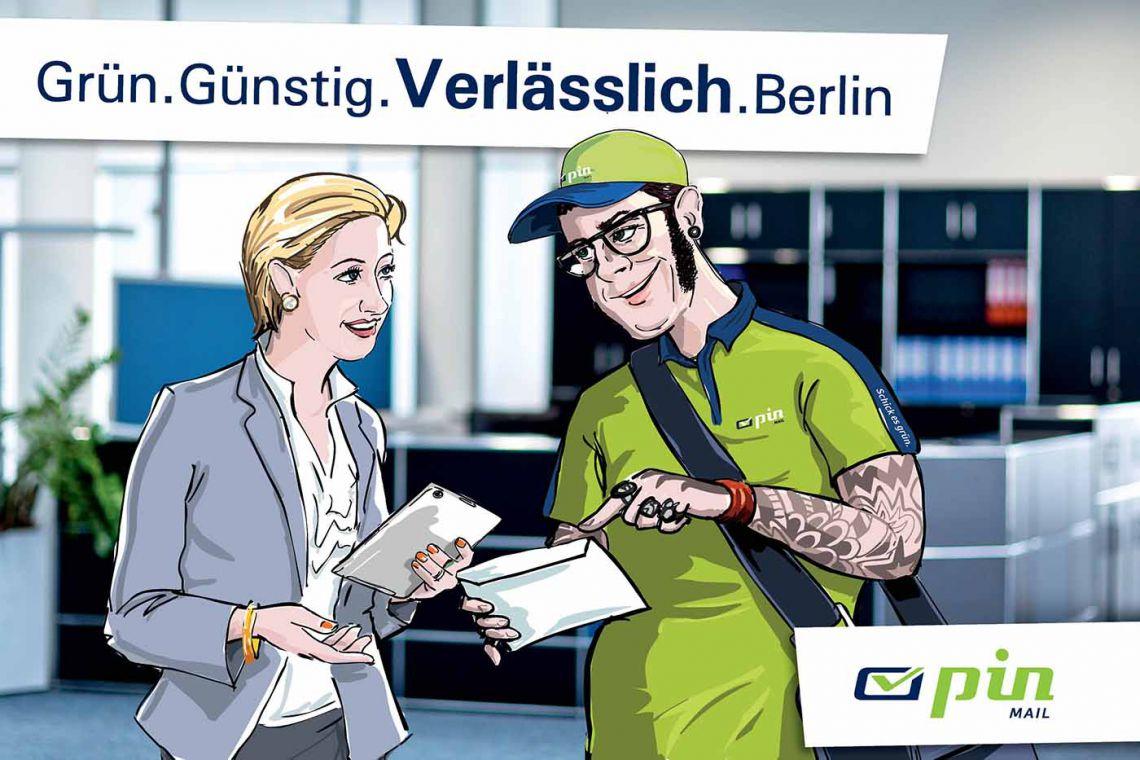 Zusteller der PIN Mail AG zeigt erklärt einer Kundin etwas zu Ihrer Sendung.