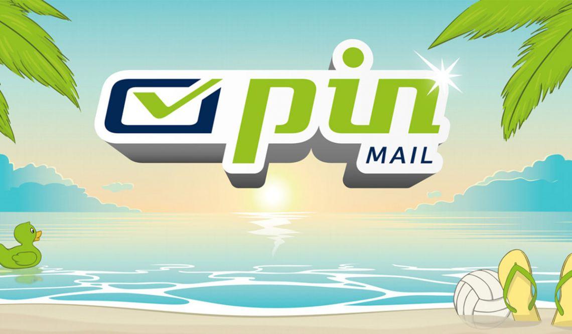 Logo der PIN AG umgeben von Palmen, Strand und Wasser
